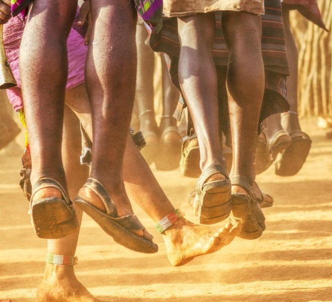 Youth dance people in the villages of the Omo Valley in Ethiopia
